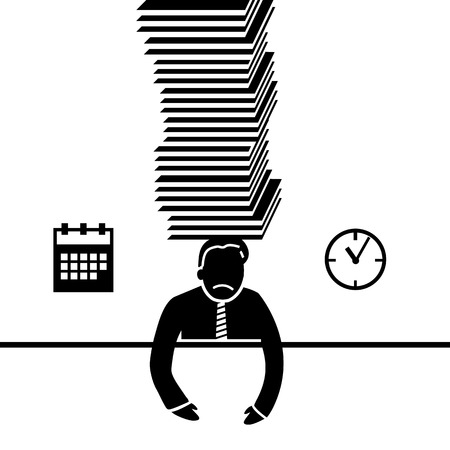 under pressure: vector abstract flat design businessman icon under pressure because of deadline black pictogram separated on white background