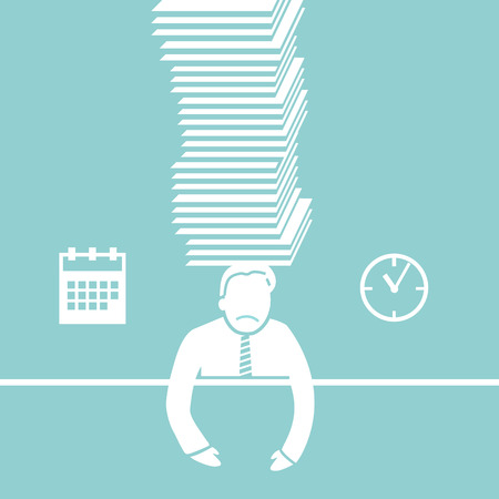 under pressure: vector abstract flat design businessman icon under pressure because of deadline white pictogram separated on green background Illustration