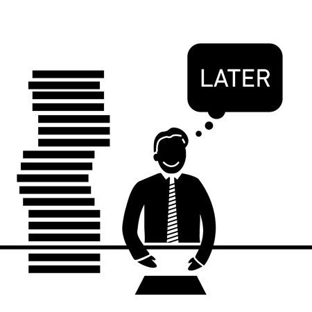 delay: vector abstract flat design procrastination businessman icon  which delay his work for later black pictogram separated on white background