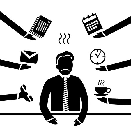 inquiry: vector abstract flat design stressed and depressed businessman in his office icon black separated on white background Illustration