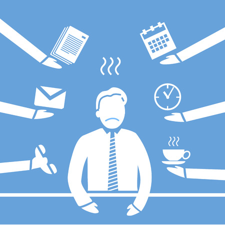 personality development: vector abstract flat design stressed and depressed businessman in his office icon white separated on blue background