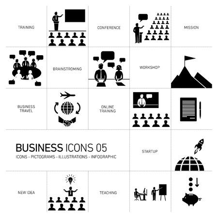 moderne platte ontwerp zakelijke iconen en illustraties