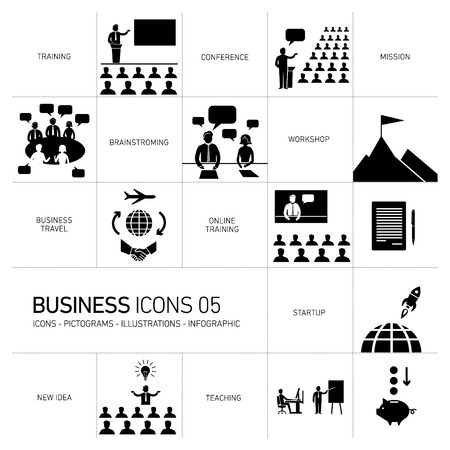 modern flat design business icons and illustrations  Vectores