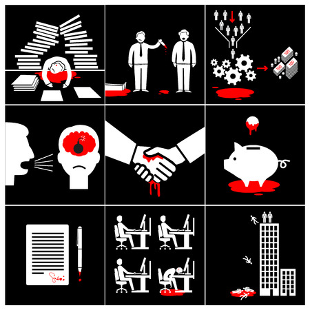 adverse: flat design conceptual bloody business icons and illustrations  Illustration