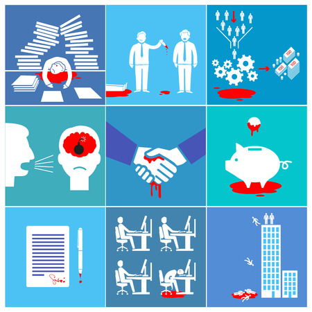 flat design conceptual bloody business icons and illustrations Illustration
