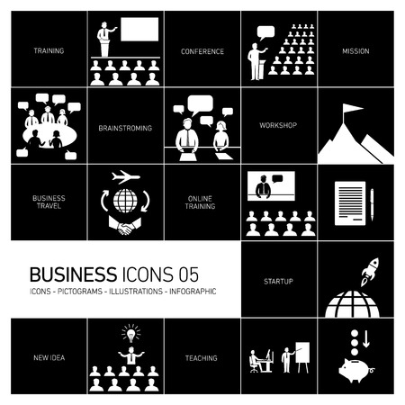 modern flat design business icons and illustrations Vector
