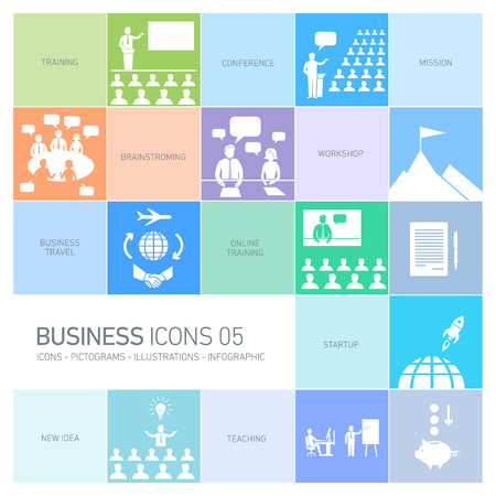 training room: modern flat design business icons and illustrations