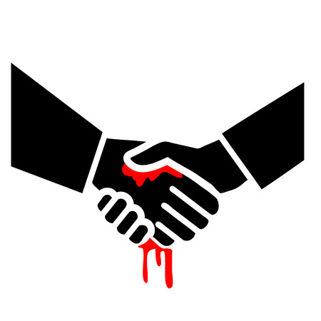 inconclusive: flat design bloody handshake business icon  Illustration