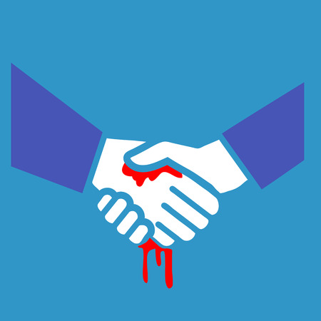 inconclusive: flat design bloody handshake business icon  Illustration