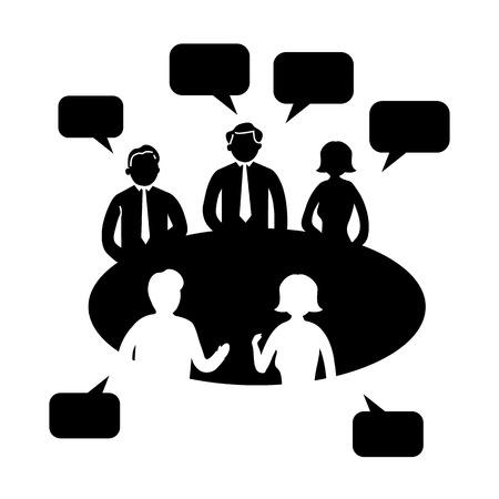 platte ontwerp brainstormen creatieve bijeenkomst zakelijke pictogram Stock Illustratie