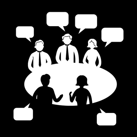 conference speaker: flat design brainstorming creative meeting business icon  Illustration