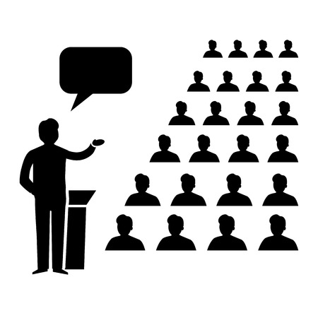 lecture room: flat design business conference room icon