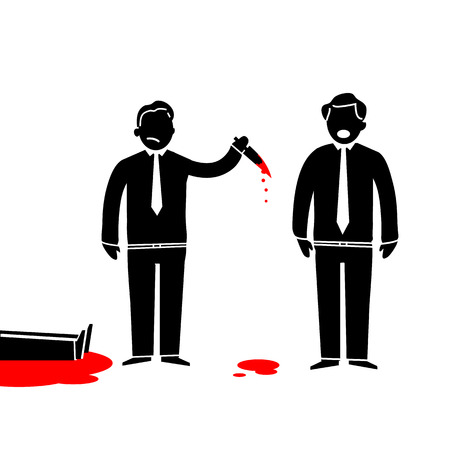 flat design business icon of murder in office  Illustration