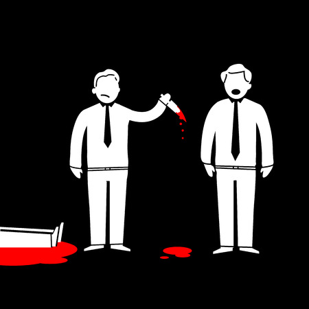inconclusive: flat design business icon of murder in office  Illustration