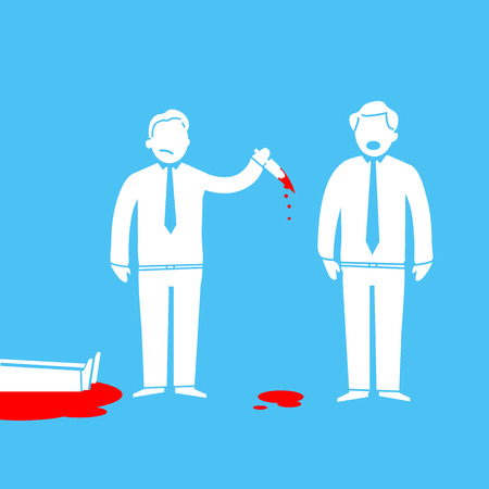 inconclusive: flat design business icon of murder in office