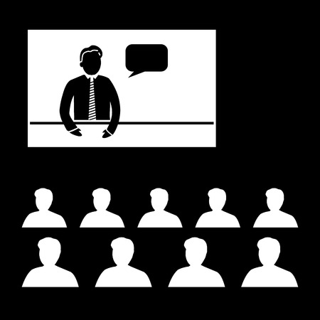 lecture room: flat design business online training conference icon Illustration
