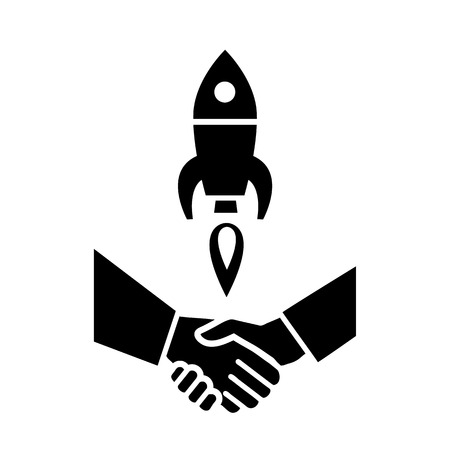 flat design startup and handshake business icon