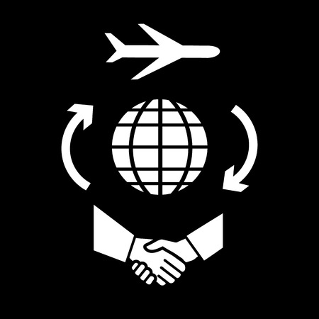 flat design business travel icon, the aircraft flying around the world for handshake  Vector