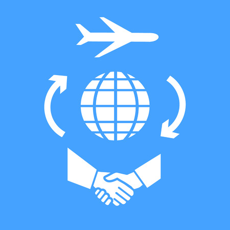 lecture room: flat design business travel icon, the aircraft flying around the world for handshake