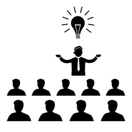 Diseño plano del icono del asunto del encargado de presentar la nueva idea sobre la reunión de conferencia o taller Foto de archivo - 30312664