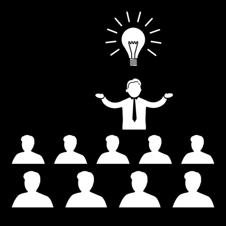 lecture room: flat design business icon of manager presenting new idea on conference or workshop meeting