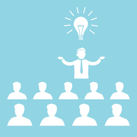 flat design business icon of manager presenting new idea on conference or workshop meeting