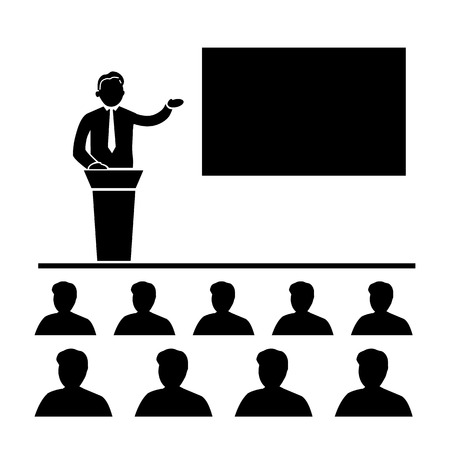 flat design business training conference icon