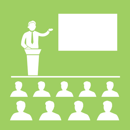 lecture room: flat design business training conference icon