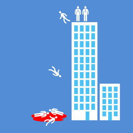 flat design business icon of managers jumping from office building  Illustration