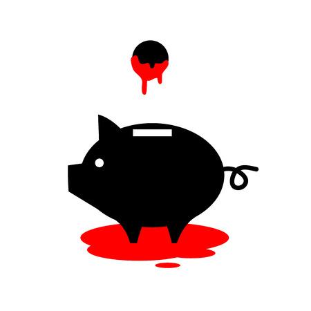 flat design business icon of piggy money box full of blood
