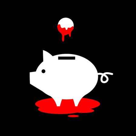flat design business icon of piggy money box full of blood money