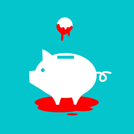 adverse: flat design business icon of piggy money box full of blood money