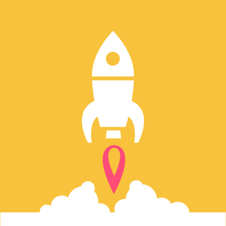 flat design rocket launching from the ground start up icon