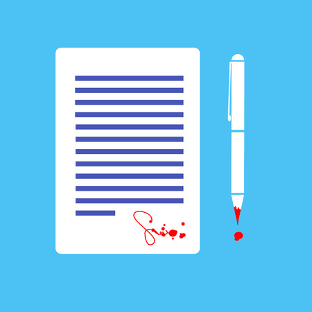 flat design business icon of contract with devil signed by blood  Illustration