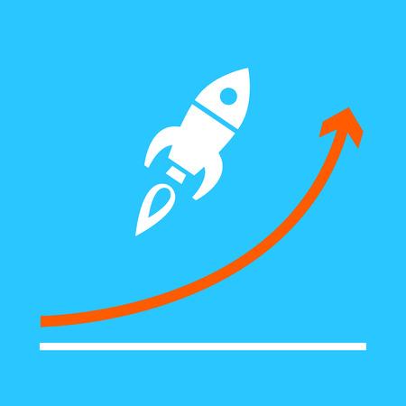 平らな設計スタート アップ ロケット グラフ ビジネス アイコンが上がる