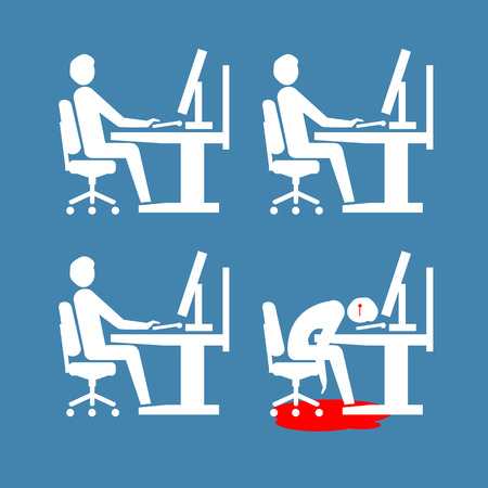 flat design business icon of suicide depressed and stressed employee in open space office Illustration