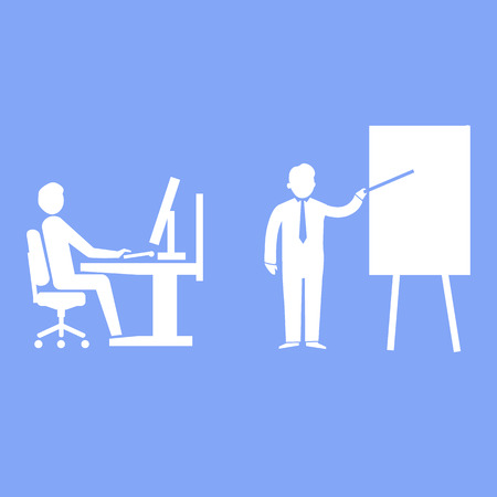 lecture room: flat design teaching and manager training business icon