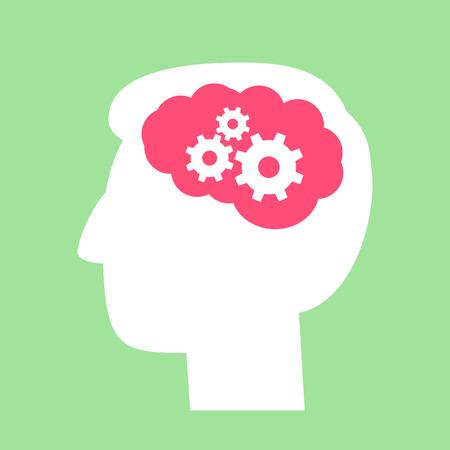 flat design working brain in action  Vector