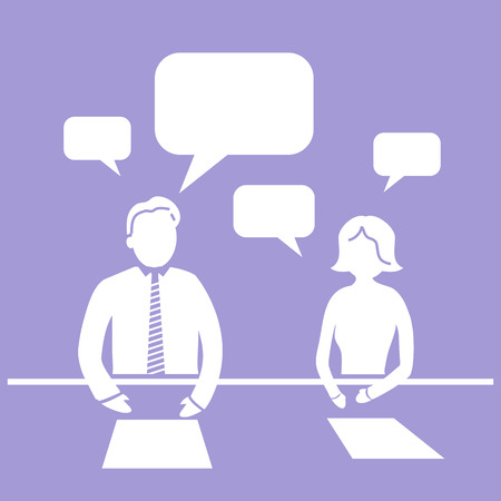 flat design business workshop meeting icon communication of two managers Vector
