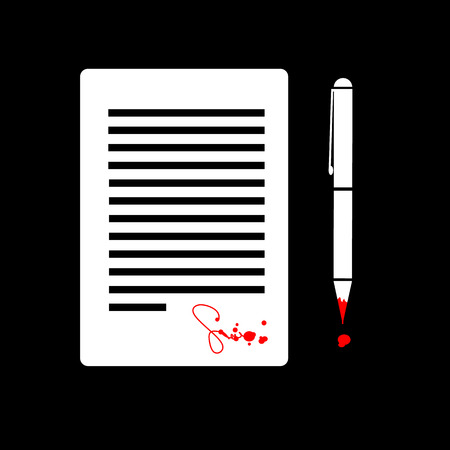 inconclusive: flat design business icon of contract with devil signed by blood  Illustration