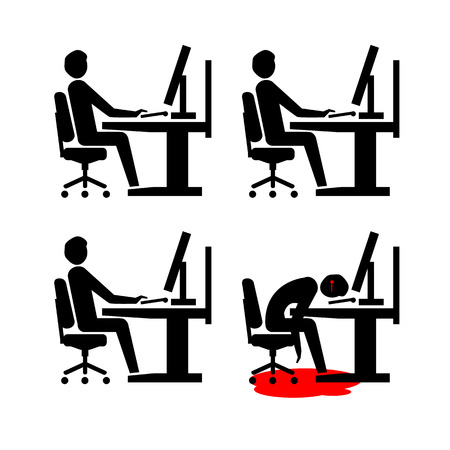 flat design business icon of suicide depressed and stressed employee in open space office