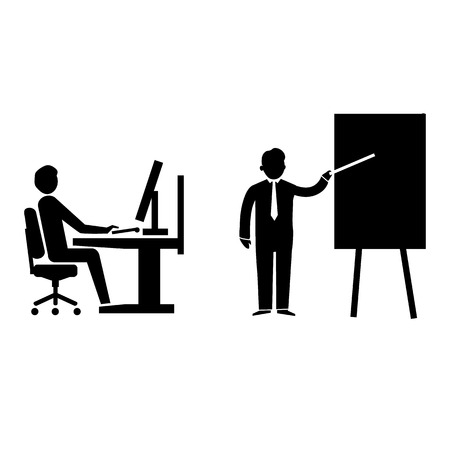 flat design teaching and manager training business icon  Vector