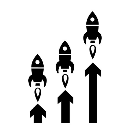 flat design start up business icon of three rockets launching graph  Vectores