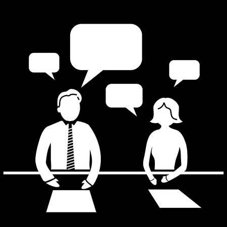 business class travel: flat design business workshop meeting icon communication of two managers Illustration