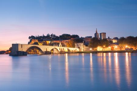 avignon: Avignon Bridge with Popes Palace and Rhone river at dawn, Pont Saint-Benezet, Provence, France Editorial