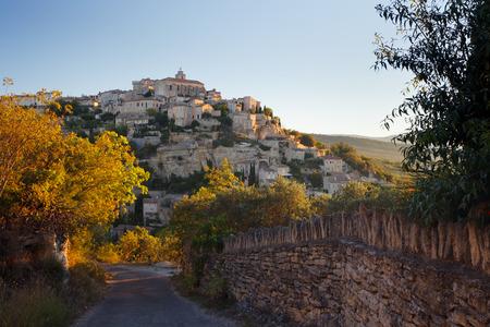 gordes: Gordes panorama at sunrise, Provence, France
