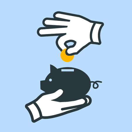 giving money: vector depositing or giving money into piggy money bank savings icon | modern flat design pictogram isolated on blue background