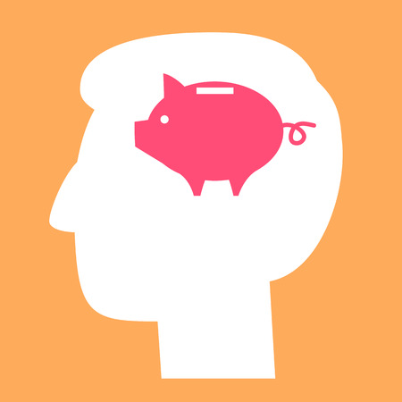 moneyed: vector icon of piggy money bank in head in brain | modern flat design pictogram isolated on orange background
