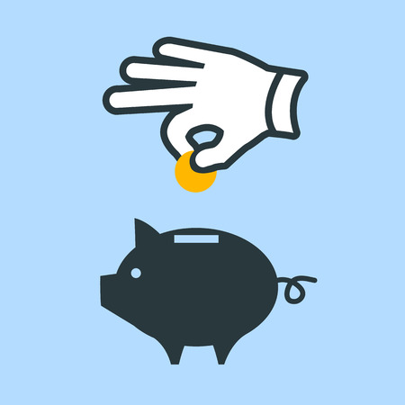 vector icon of one hand throwing money into piggy money box | modern flat design pictogram isolated on blue background