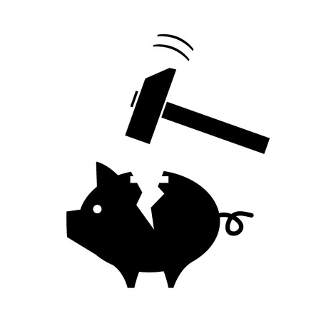 moneyed: vector broken piggy money box with a hammer | modern black flat design pictogram isolated on white background